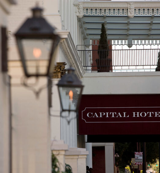 closeup of the entrance of the capital hotel